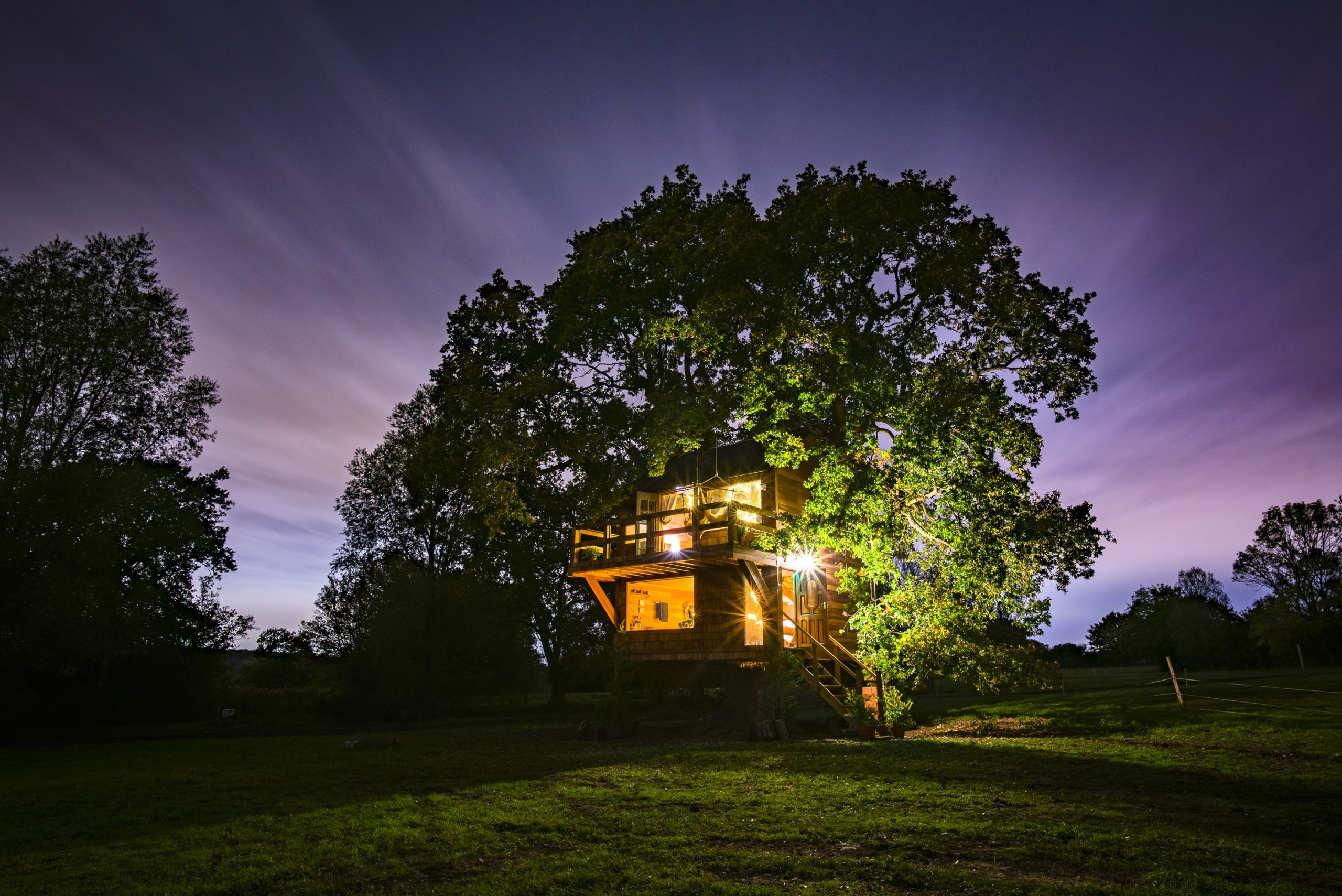 Nighttime exterior of The Old Oak at Colemans Farm