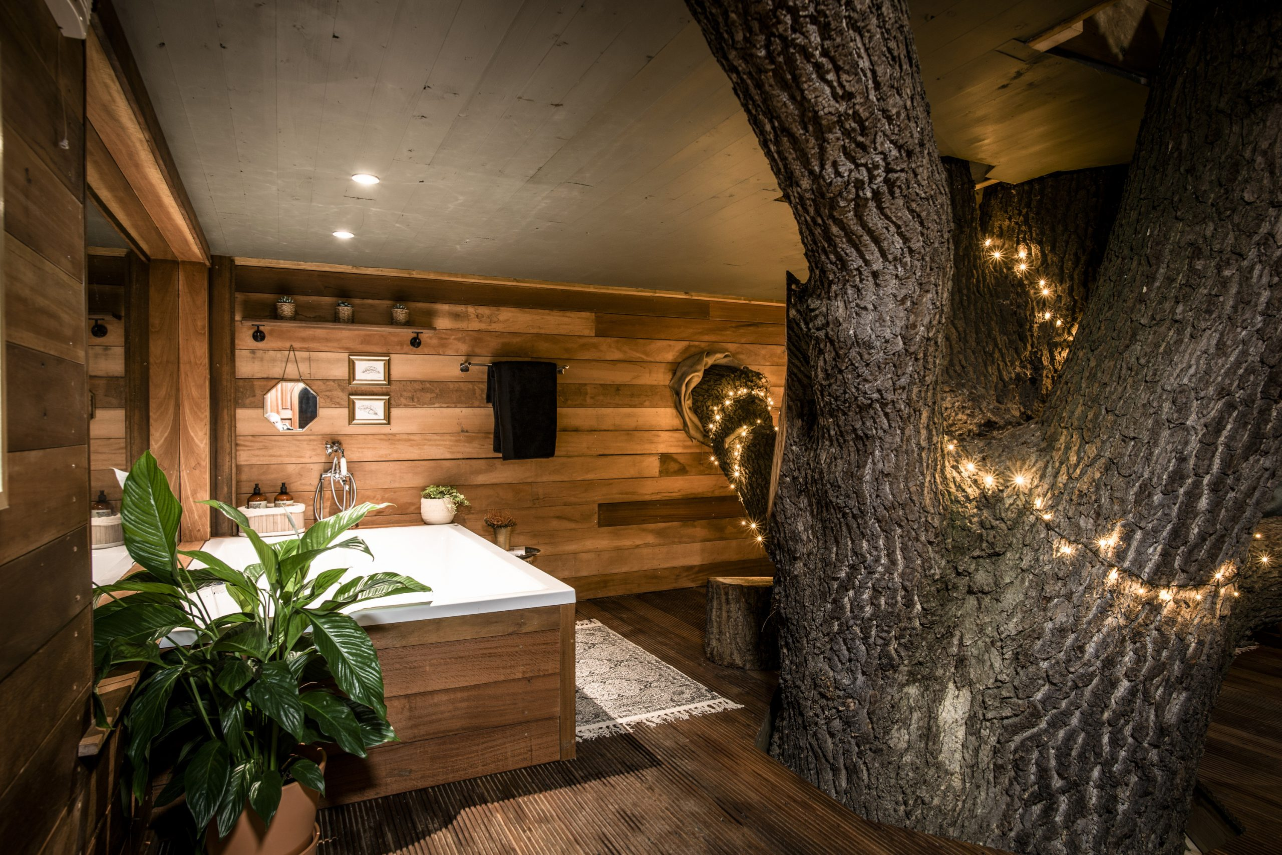 The double bath with cedar cladded interior